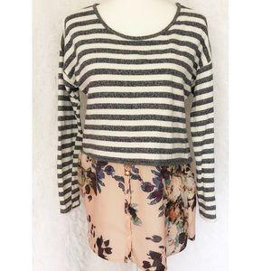 {Anthropologie Postmark} Floral & Striped Top